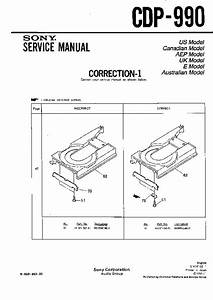 Sony Cdp-990 Service Manual