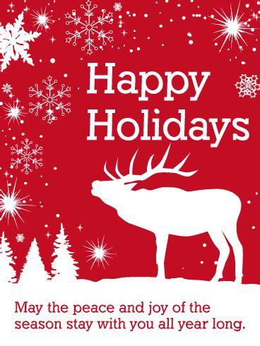 white reindeer happy holidays card birthday greeting