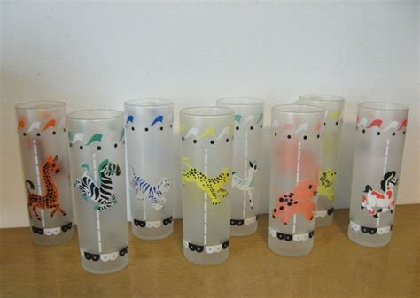 Vintage Frosted Tall Glasses. Libbey Carousel Merry-go