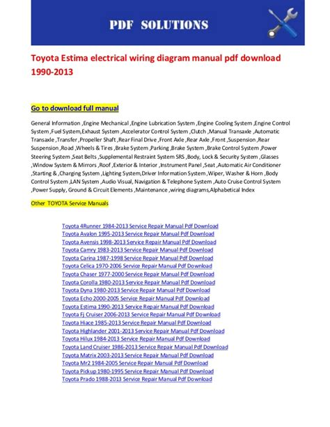 toyota estima electrical wiring diagram manual pdf download 1990 2013