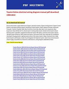 Toyota Estima Electrical Wiring Diagram Manual Pdf