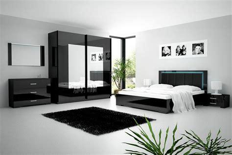 Chambre Adulte  Ensemble Chambre à Coucher Noir Laqué