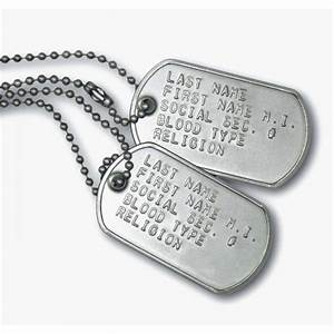 Military Dog Tags On Soldier