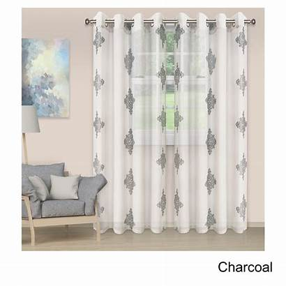 Grommet Embroidered Panel Curtain Damask Sheer Superior
