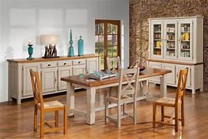 emejing meuble salle a manger blanc vieilli photos With salle a manger campagnarde