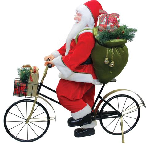 traditional santa claus riding  bicycle commercial