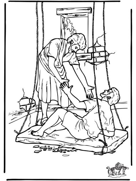 Kleurplaat Jezus Genezing Blindeeen Verlamde by De Verlamde 4 Bijbel Kleurplaten Nieuwe Testament