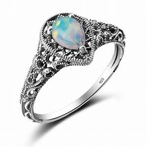 elegant water drop cut 22ct opal rings for women vintage With opal wedding rings for women