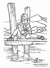 Fishing Pier Boy Grandpa Lake Coloring Dock River Template Fish Camping Printcolorfun Boat sketch template