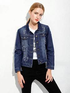 Single Breasted Long Sleeves Ripped Blue Denim Jacket Womens