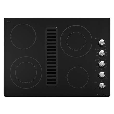 downdraft exhaust fan for cooktop kitchenaid kecd807xbl 30 quot electric black downdraft cooktop