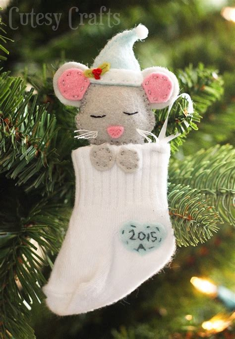 baby sock diy christmas ornaments cutesy crafts