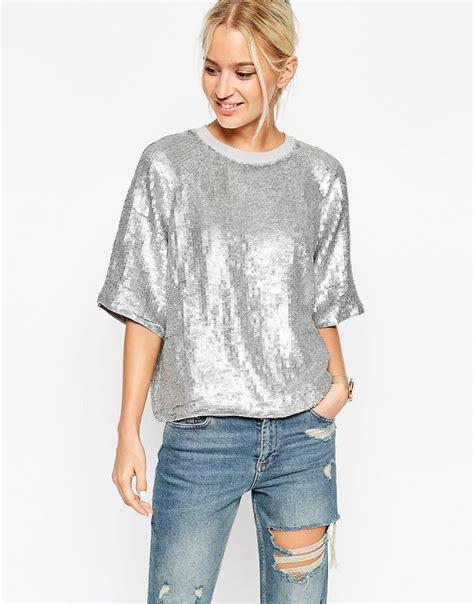 silver blouse asos glitter sequin silver sweat t shirt in metallic