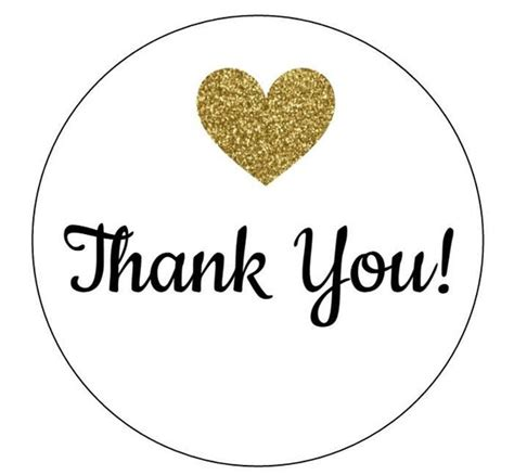 12 Gold Heart Thank You Labels, Instant Download, Wedding, Thanks For Coming, Pdf Stickers, Tags