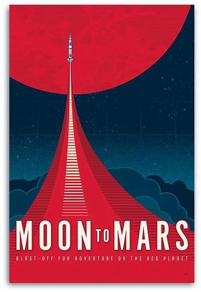Mars Poster Moon Nasa Inspired Behance Astronauts