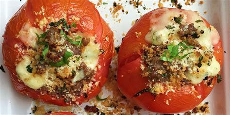 stuffed tomatoes recipe cheese sausage recipes basil tomato italian cheesy delish keyingredient cooking food keyword ingredient enter