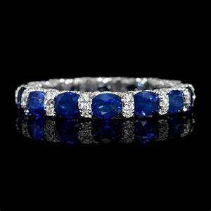 72ct diamond and blue sapphire 18k white gold eternity With wedding ring with sapphires and diamonds