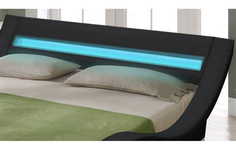 couleurs chambre à coucher lit king size noir 180 cm avec sommier et bande led