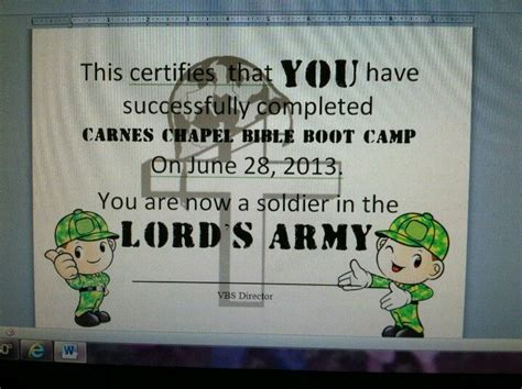 lords army craft diploma  bible boot camp lords army
