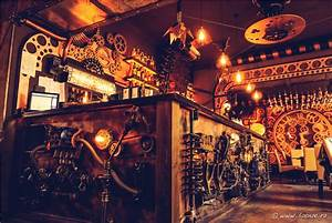 Enigma a steampunk themed cafe filled with kinetic for Enigma steampunk bar romania