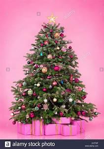 Weihnachtsbaum Pink Geschmückt : geschm ckter weihnachtsbaum mit pr sentiert und geschenk boxen auf rosa hintergrund isoliert ~ Orissabook.com Haus und Dekorationen
