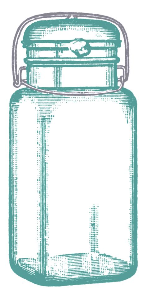 vintage clip art cute glass mason jar label
