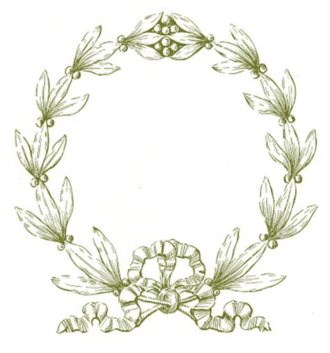 vintage christmas clip art laurel wreath frame