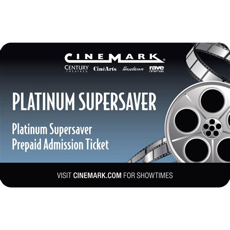 Because the gift card is plastic, there is no concern of it tearing or getting wet. Cinemark USA Platinum Supersaver Prepaid Admission Ticket, 2 pk. - BJ's Wholesale Club