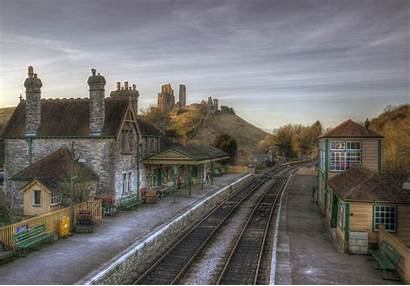 Station Train Castle Antique Corfe England Wallpapers