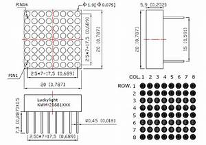 Red 8x8 Small Led Matrix Display Technical Data