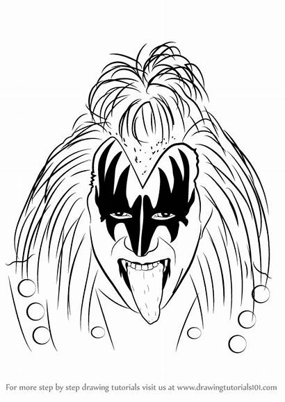 Gene Simmons Draw Kiss Coloring Drawing Pages
