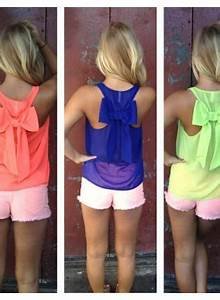 Coral Sleeveless Top Neon Sleeveless Top with Bow