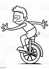 Unicycle Coloring Boy Bike Falling Clip Pages Illustration Template Sketch Vector Illustrations Acting Activity Culture Performance Entertainment Arts Craft sketch template