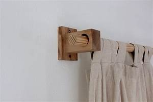 Curtain holders curtain rod holders modern wood brackets for Wooden curtain holders
