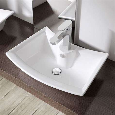 Top Mounted Bathroom Sinks by Rounded Corners Counter Top Mounted White Ceramic Basin
