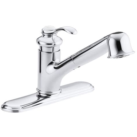 kohler pull out kitchen faucet shop kohler fairfax polished chrome 1 handle pull out kitchen faucet at lowes com