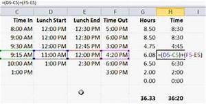 How to calculate time in excel with lunch break free for Template to calculate hours worked