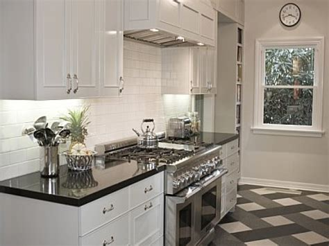 Black And White Kitchen Floor, White Kitchen Cabinets With
