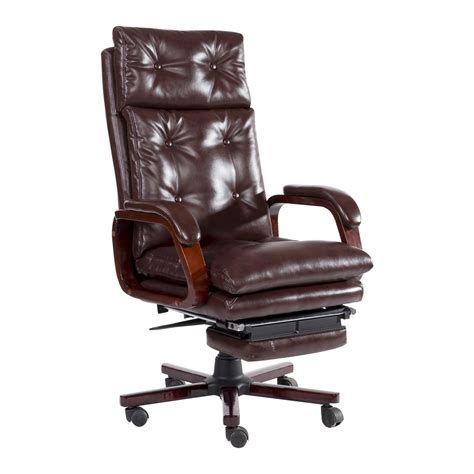 reclining office chair homcom high back pu leather executive reclining office