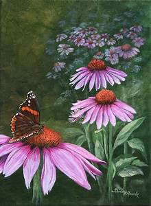 Painting: Purple Cone Flowers & Butterfly, Florals ...