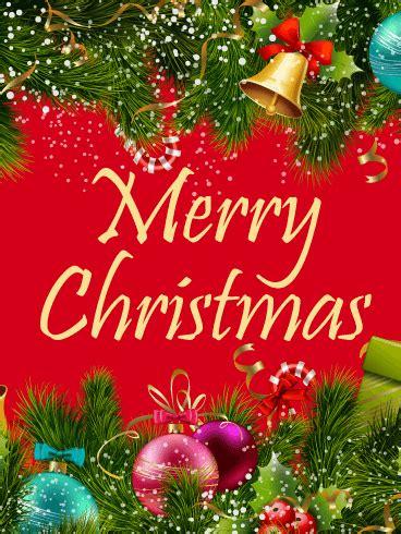colorful christmas ornaments card birthday greeting