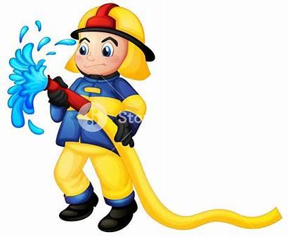 Fireman Water Hose Illustration Holding Firefighter Clipart