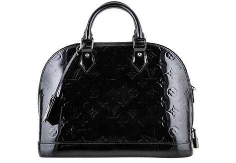 louis vuitton alma noir pm monogram vernis  black patent leather shoulder bag tradesy