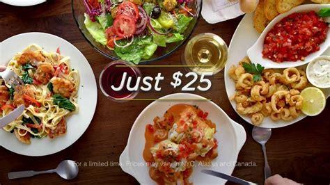 olive garden dinner olive garden 3 course italian dinner for two tv