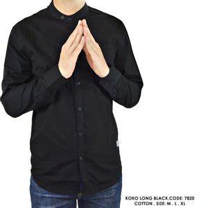 jual yanbu baju kemeja panjang kerah koko polos polosan hitam cowok pria di lapak budi yanto