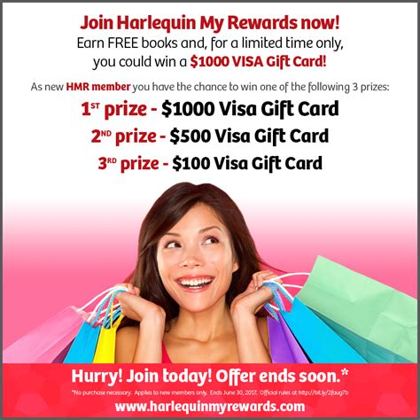Maybe you would like to learn more about one of these? Join Harlequin My Rewards and Win A $1000 Visa Gift Card! - Harlequin Ever After
