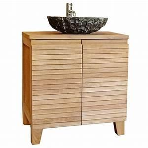 meuble salle de bain en teck 80 cm tabago achat vente With meuble salle de bain teck 80 cm