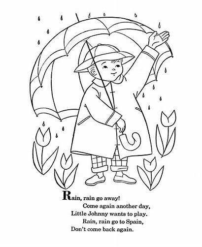 Rain Away Coloring Nursery Pages Rhyme Rhymes