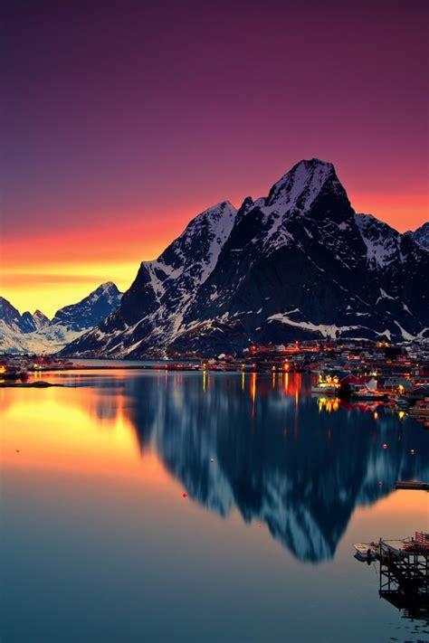 wallpaper reine lake mountains norway  nature