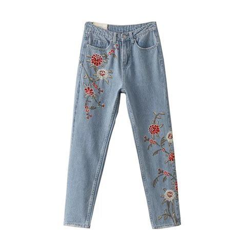 frayed slim fit fashion 2017 embroidered floral denim light
